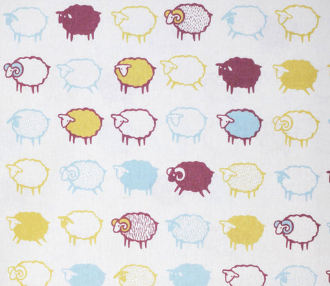 Baa Baa Black Sheep - Multi-colored - Japanese Cotton Linen Fabric - Kiyohara