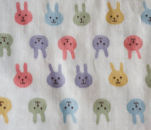 Bunnies - Double Gauze - Rainbow Colors - Kobayashi Japanese Fabric