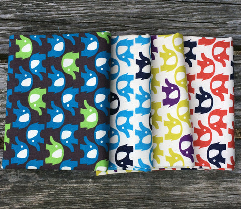 Elephants Japanese Kokka Trefle Fabric Bundle