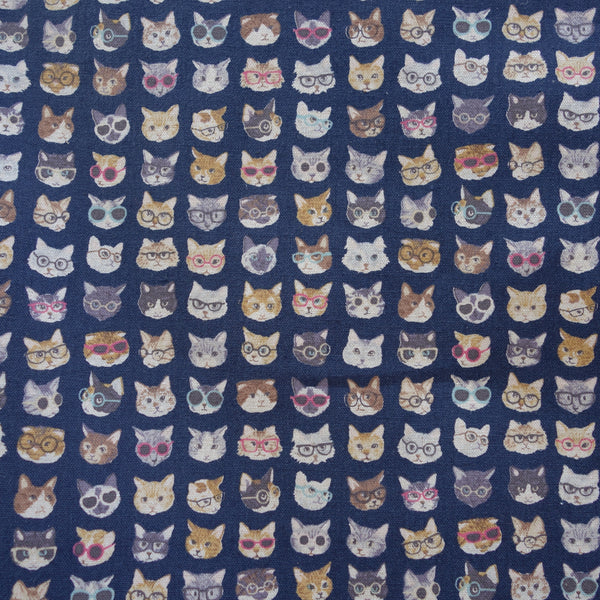 clever cats with glasses navy blue cotton linen lightweight canvas japanese fabric
