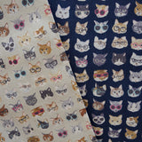 Clever Cats with Glasses - Navy Blue - Cotton Linen Lightweight Canvas Japanese Fabric