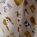 Dog Show - Light Brown - Cotton Linen Lightweight Canvas Japanese Fabric