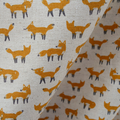 Foxes - Natural Beige - Cotton Linen Lightweight Canvas Japanese Fabric
