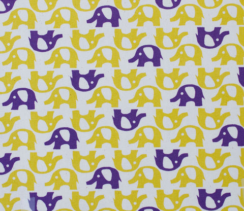 Elephants - Chartreuse/Purple - Kokka Trefle