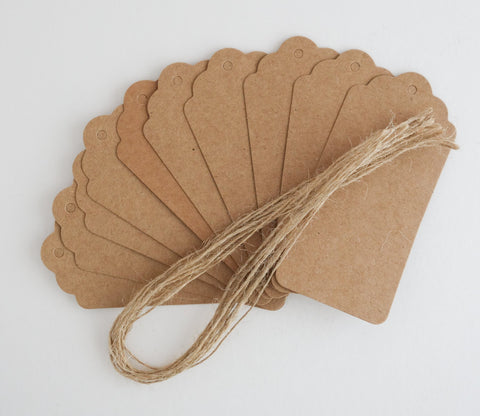Kraft Paper Gift Tags and Twine - Pack of 10 Tags