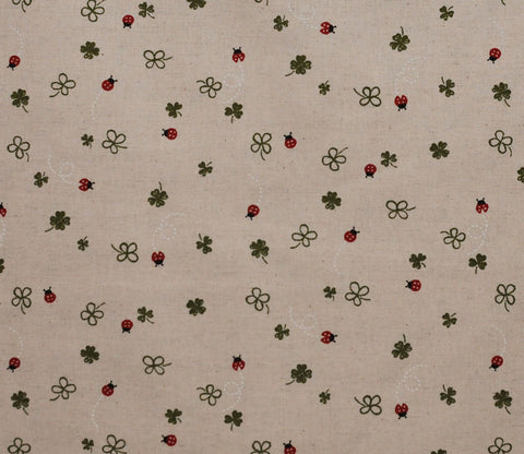 Ladybugs and Clovers - Cotton Linen Japanese Fabric - Kobayashi