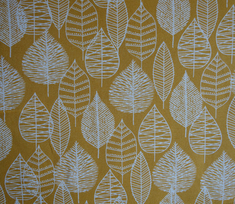 Line Leaf - Bark and Branch - Gold - Cotton Canvas - Cloud9 Organic Fabrics