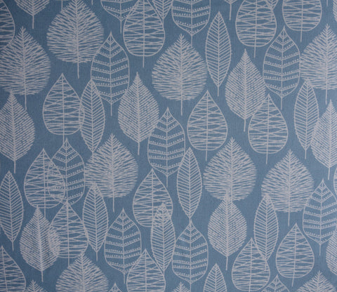 Line Leaf - Bark and Branch - Blue - Cotton Canvas - Cloud9 Organic Fabrics