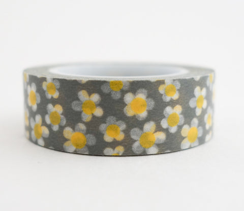 Daisy Washi Tape - Yellow and White Daisies - Floral Washi Tape