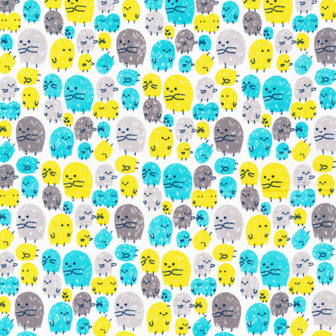 Little Visitors - Turquoise - Cosmic Convoy - Cloud9 Organic Cotton Fabric