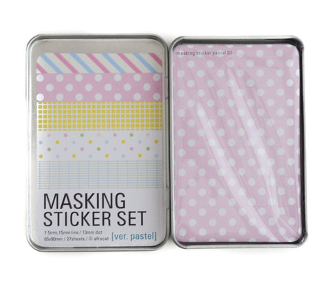 Masking Tape Sticker Set Tin - Pastel Patterns - 27 Sheets