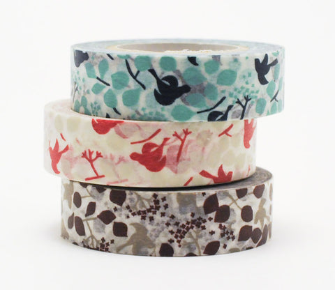 Birds and Leaves (Teal - Brown - Red) Japanese Washi Tape Set