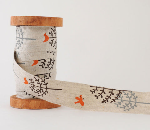 Midi - Bird in Tree - Shinzi Katoh Linen Tape 30mm