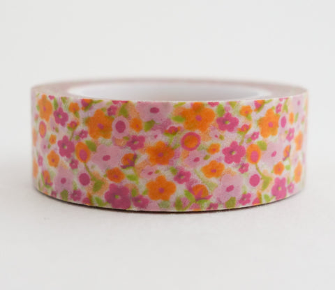 Mini Orange and Pink Flower Washi Tape - Floral Washi Tape