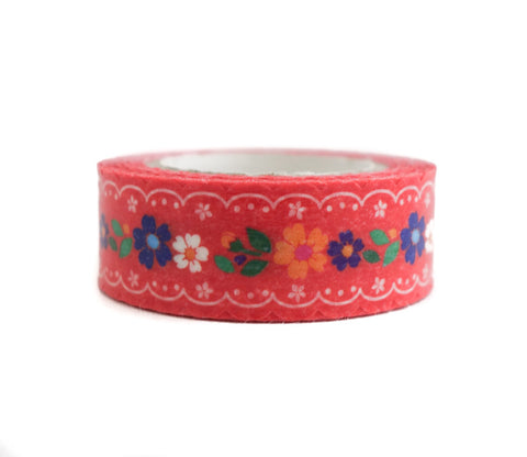 Red Flowers - Pine Book Nami Nami - Die Cut Washi Masking Tape