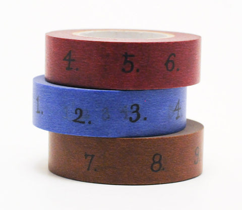 Numbers (Blue - Brown - Red) Japanese Washi Tape Set