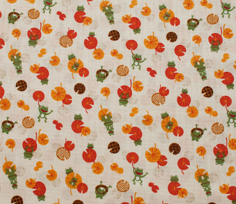 Frogs and Lilypads - Orange - Westex Dobby Cotton Japanese Fabric