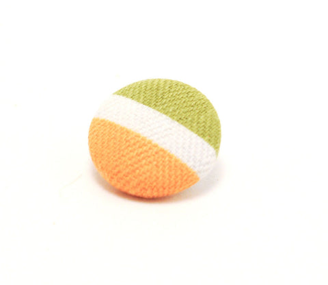 Orange & Green Striped Button - Shinzi Katoh