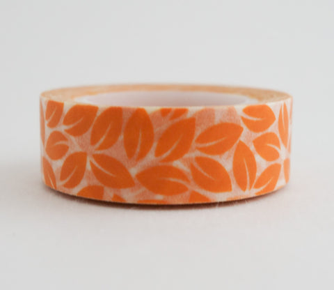 Orange Leaves Washi Tape - Floral Washi Tape