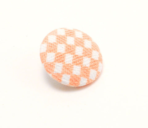 Orange & White Checkered Button - Shinzi Katoh
