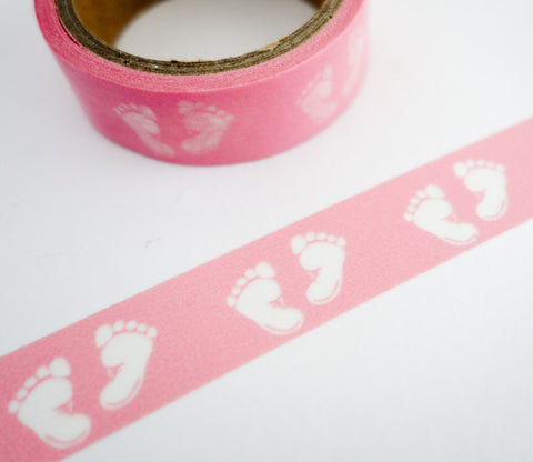 Pink Baby Footprints Washi Tape