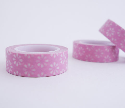 Pink Flowers Washi Tape - Floral Washi Tape