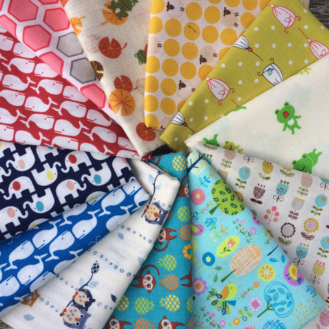 Rainbow Colors Japanese Fat Quarter Fabric Bundle #1