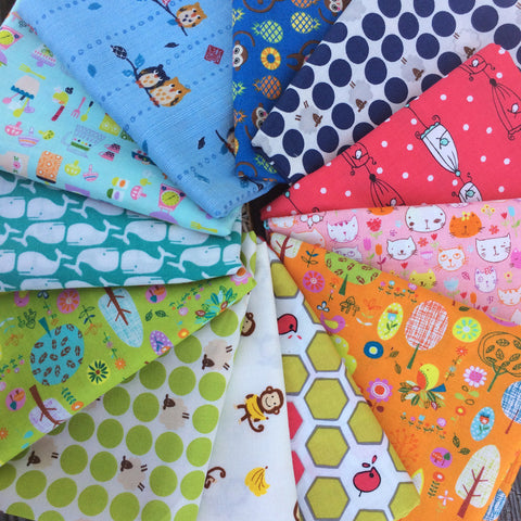Rainbow Colors Japanese Fat Quarter Fabric Bundle #2