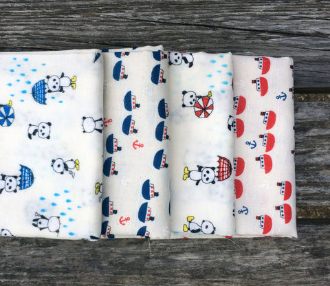 Pandas and Sailboats Double Gauze Fabric Bundle