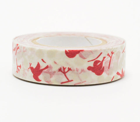 Birds and Leaves - Red - Japanese Washi Tape