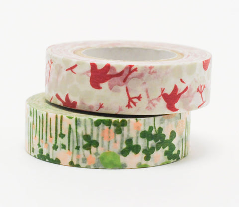 Red Bird and Green/Pink Flower Japanese Washi Tape Set
