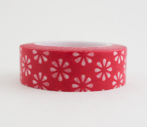 Red Flowers Washi Tape - Floral Washi Tape