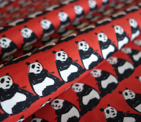 Pandas - Red - Japanese Fabric - Lightweight - Westex