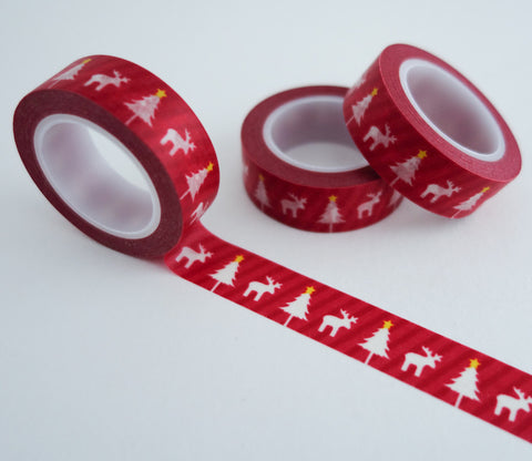 Red Reindeer Christmas Trees Holiday Washi Tape