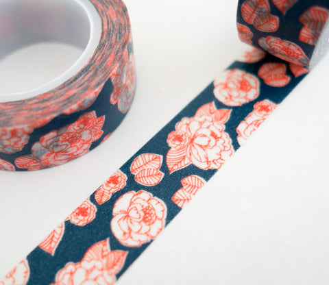 Red Roses on Blue Washi Tape - Flower Washi Tape