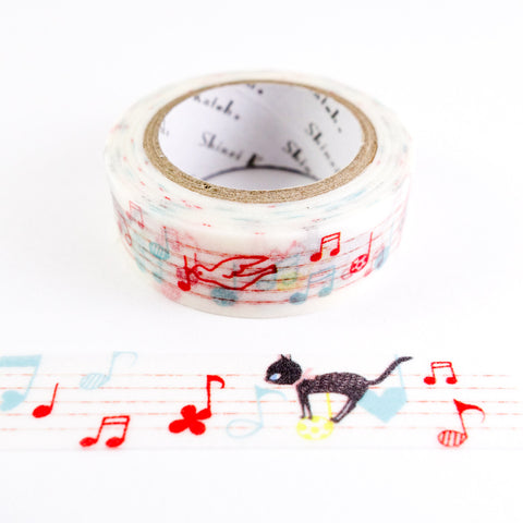 Cheerful Notes - Musical Cats - Shinzi Katoh Japanese Washi Tape