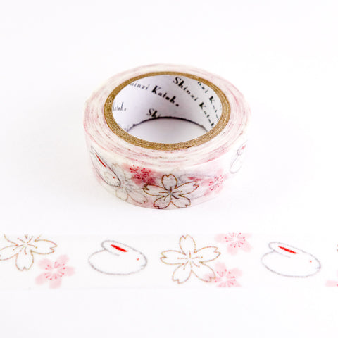 Bunny Rabbits and Sakura Cherry Blossoms - Shinzi Katoh Japanese Washi Tape