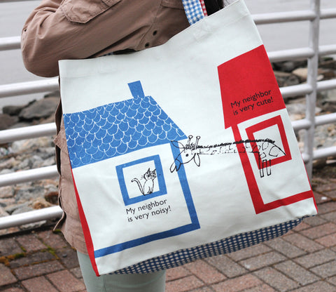 My Neighbor - Giraffe and Cat - Shinzi Katoh Tote Bag