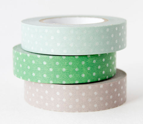 Small Polka Dots (Green - Mint Green - Brown) Japanese Washi Tape Set
