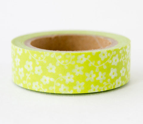 Spring Green Floral Washi Tape