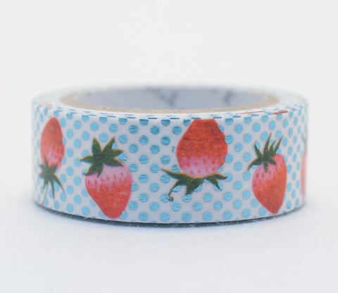 Strawberry Polka Dot - Shinzi Katoh Blue Foil Washi Tape