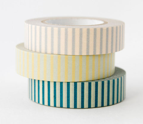 Stripes (Blue - Grey - Yellow) Japanese Washi Tape Set