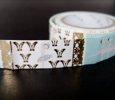 Swan Lake Ballet - Ballerina - Shinzi Katoh Gold Foil Washi Tape