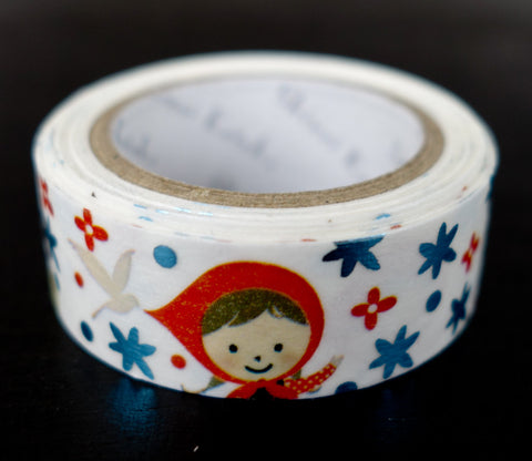 Precious Little Red Riding Hood Flowers - Shinzi Katoh Blue Foil Washi Tape