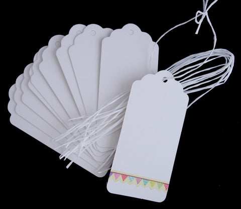 White Cardstock Paper Gift Tags and Twine - Pack of 10 Tags