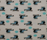 Helicopters - Blue and White - Cosmo Japanese Fabric