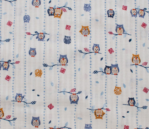 Owls - White - Westex Dobby Cotton Japanese Fabric