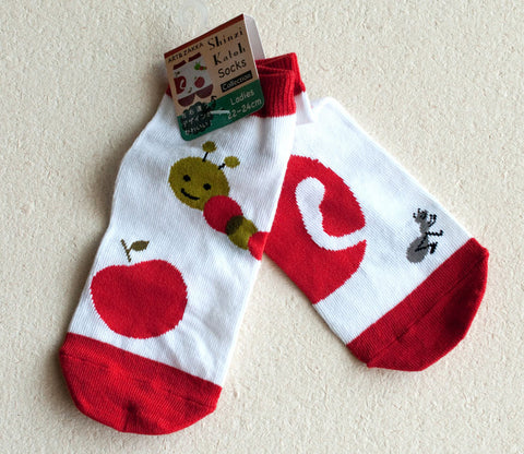 Worm & Apple Socks - Shinzi Katoh