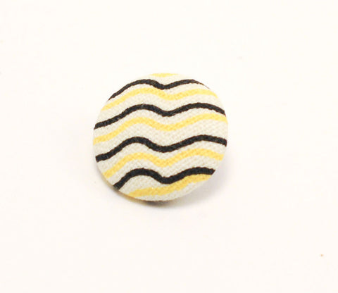 Yellow & Black Stripe Button - Shinzi Katoh