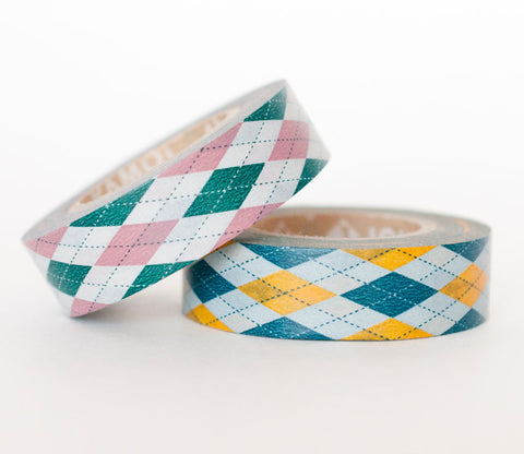 Yellow/Green and Pink/Green Argyle Washi Tape
